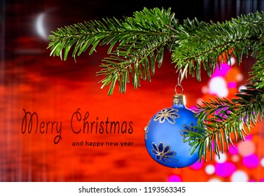 Blue Christmas Ball  with text Merry Christmas and Happy New Year