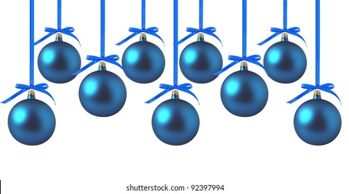 Blue Christmas balls with bows on white background