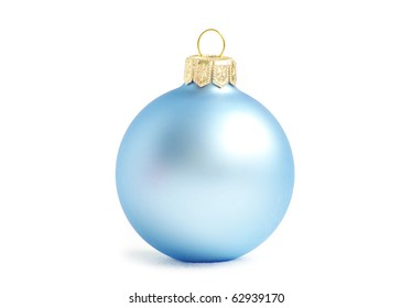 blue christmas balls  isolated on a white