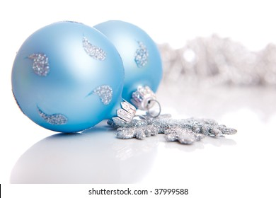 Blue Christmas balls and silver decoration