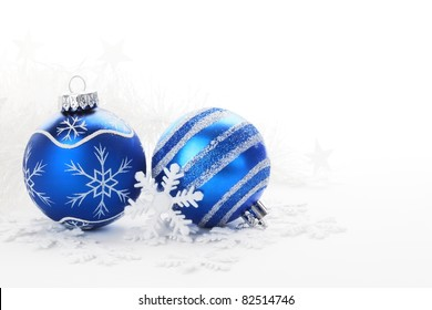 Blue Christmas balls with snow ornament