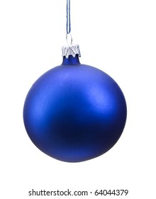 Blue Christmas bauble hanging from a wire, isolated on a white background.