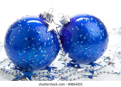 Blue Christmas baubles with silver decoration