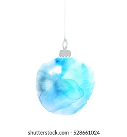 Blue Christmas bulbs hand made watercolor illustration. Hand painted elegant Xmas bubbles decor. Cute simple Christmas tree bulbs decoration design element. New Tear decorative background.