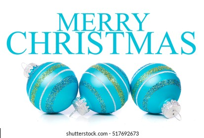 "Blue Christmas ornaments on a white background with ""Merry Christmas"" message"