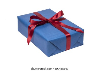 Blue christmas present isolated