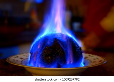 Christmas Pudding On Fire.Christmas Pudding On Fire Stock Photos Images Photography