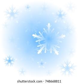Blue Christmas snowflakes background. Illustration