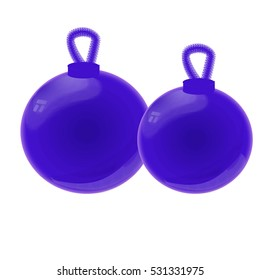 blue Christmas-tree toy on a white background.  glossy balls