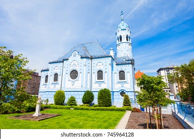 The Blue Church or The Church of St. Elizabeth or Modry Kostol Svatej Alzbety in the Old Town in Bratislava, Slovakia. Blue Church is a Hungarian Secessionist Catholic cathedral. - Shutterstock ID 745964128