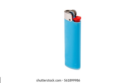 Blue Cigarette lighter isolated on white background.