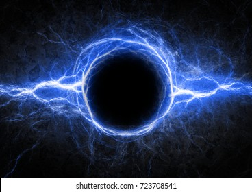 Blue circle lightning with copy space in the middle