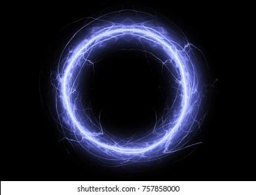 Blue circle lightning, electrcical plasma background