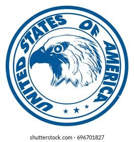 blue circle printing of USA