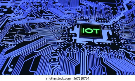 Blue circuit board closeup connected to a cpu with a glowing iot symbol on top internet of things cybersecurity concept 3D illustration