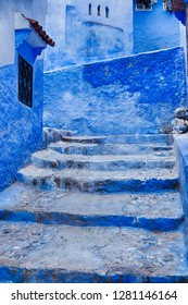 In the Blue City of Chefchaouen in Morocco, large parts of the old city medina is painted with a bright blue paint.
