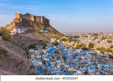 Blue city and Mehrangarh fort on the hill in Jodhpur, Rajasthan, India