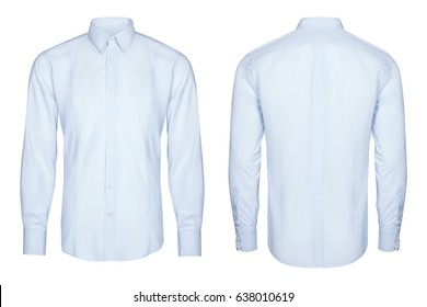blue classic and business shirt, isolated white background.