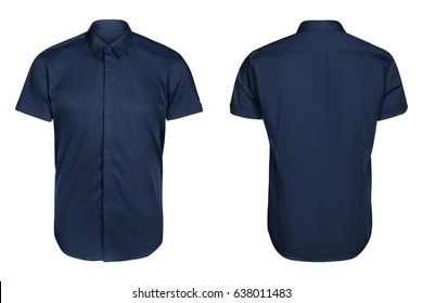 blue classic and business shirt, short sleeved shirt, isolated white background.