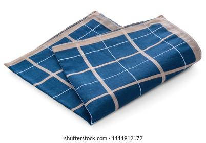 A blue clean handkerchief with a checkered pattern. Napkin thrown, crumpled.