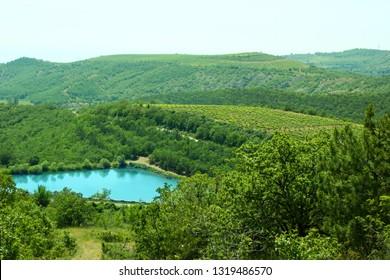 Blue clean mountain lake, springtime