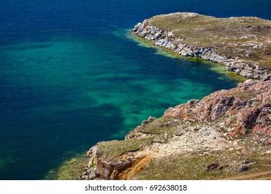 Blue clear water of Baikal lake, Siberia