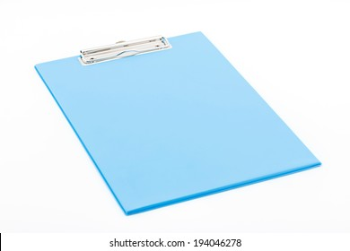 Blue clipboard isolated on white background.