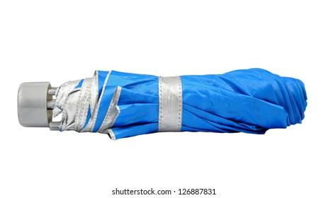 Blue closed umbrella isolated on white background