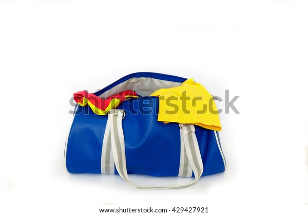 Blue clothes bag on white background.
