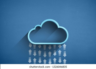 Blue cloud computing concept with arrows