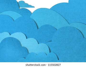 blue cloud recycled paper craft  on white background