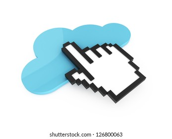 Blue cloud technology button and black pixel hand cursor, pointer for click, isolated on white background.