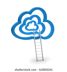 blue clouds and ladder, isolated on white background