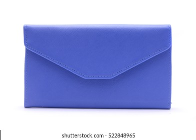 blue clutch bag isolated on white