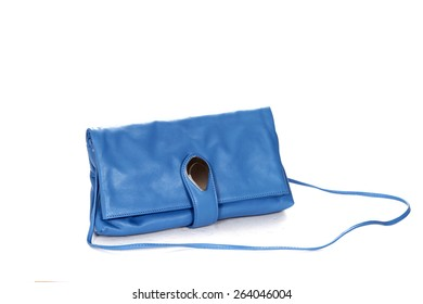 Blue clutch-bag from genuine leather isolated on white background