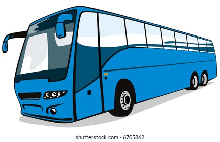 Blue coach bus