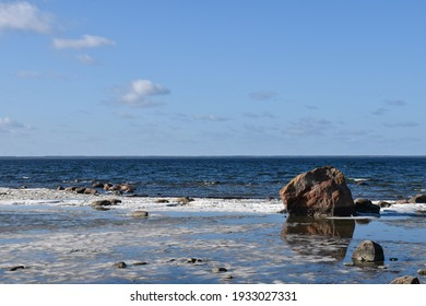 Blue coastal view in springtime by the coast of the Baltic Sea on the island of Oland