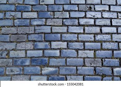 blue cobblestone paved street in Old San Juan, Puerto Rico