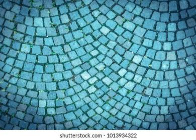 Blue Cobblestone Road, background, texture. Toned
