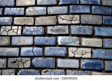 blue cobblestones in Old San Juan, Puerto Rico