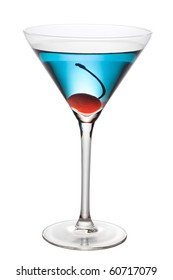 Blue cocktail and cherry isolated - pen clipping path included