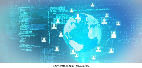 Blue codes against global technology background