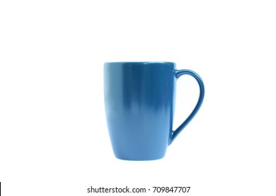 Blue coffee cup on white backgrounds include clipping path