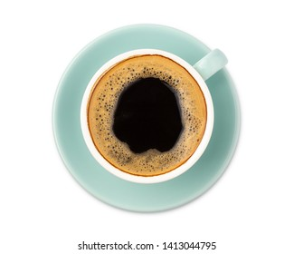 blue coffee cup top view isolated on white background. with clipping path.