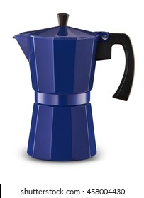 Blue Coffee Percolator on white background with shadow