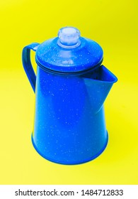 Blue Coffee Percolator  with yellow Background