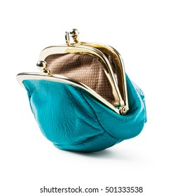 Blue coin purse isolated on white background. Open empty female wallet. Saving money concept. Object with clipping path