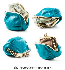 Blue coin purse with money and empty collection isolated on white background. Female wallet with hundred dollar banknotes. Saving money concept