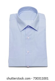 Blue Collar Button Up Dress Shirt Isolated on a White Background.