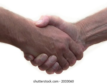 Blue collar hand shake